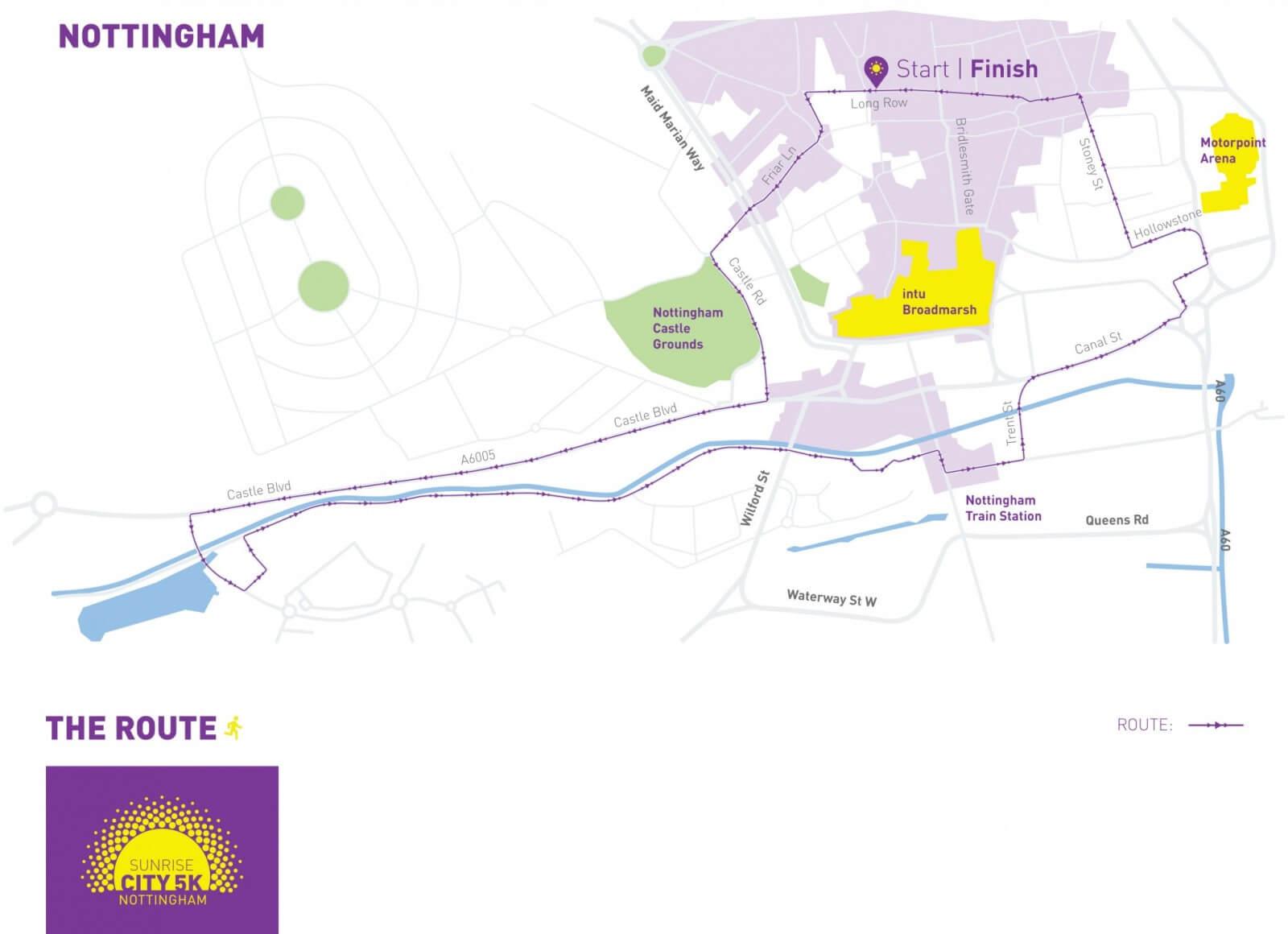 Map Of Uk Nottingham.Nottingham Sunrise City 5k